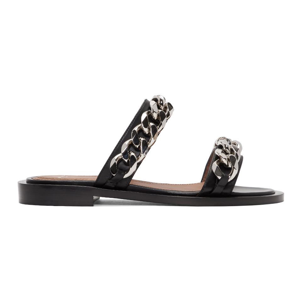 Givenchy Black Double Band Chain Sandals