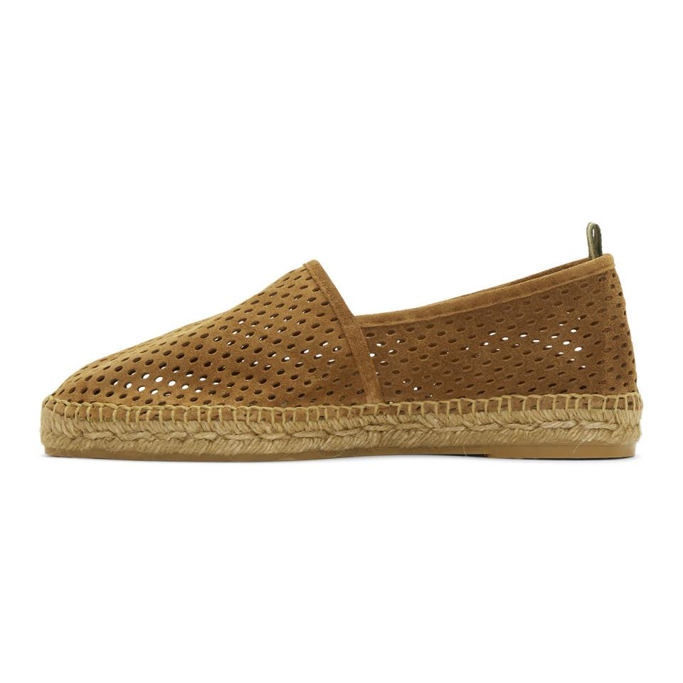 Castaner Tan Perforated Suede Pablo Espadrilles