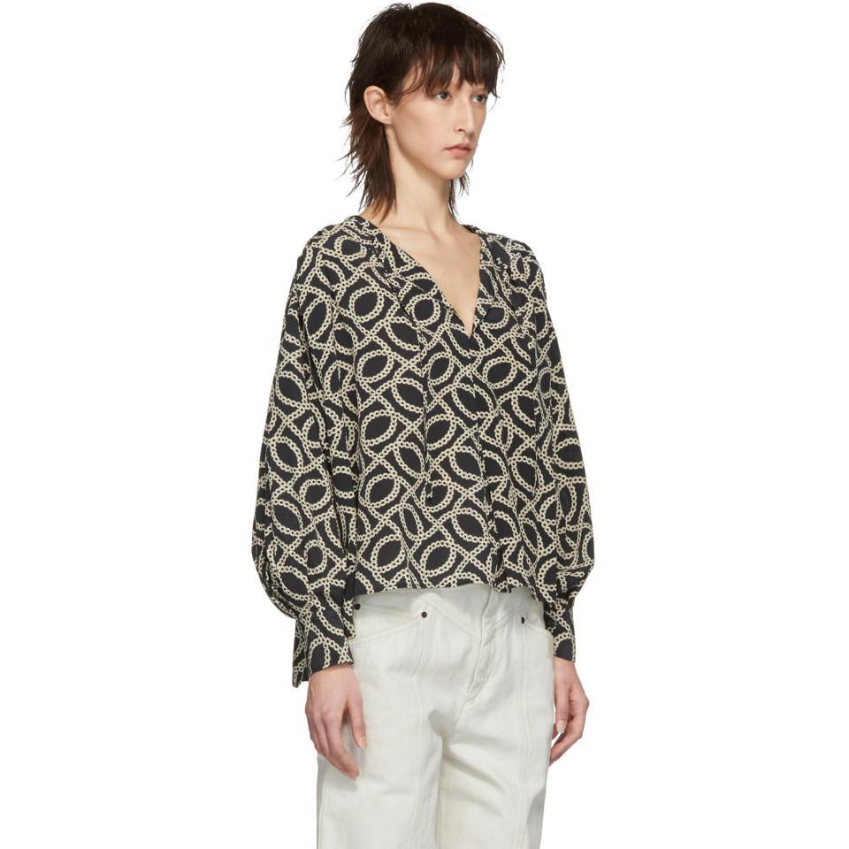 bc86c3f8583dda Isabel Marant - Multicolor Black And Off-white Andora Blouse - Lyst. View  fullscreen