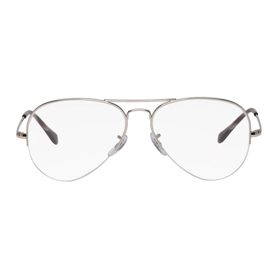 6525c9cd31ef9 Ray-Ban Silver Gaze Aviator Glasses in Metallic for Men - Lyst