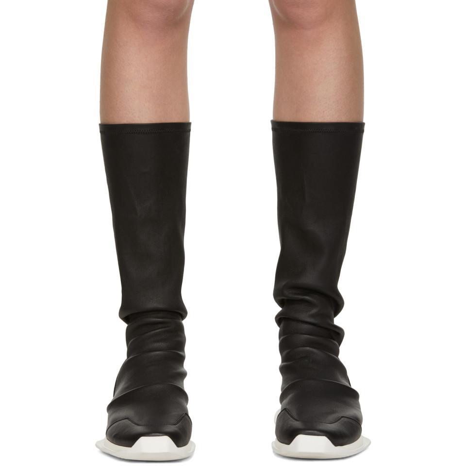 7e4bcb0cf071 Rick Owens - Black Oblique Runner Sock Boots - Lyst. View fullscreen