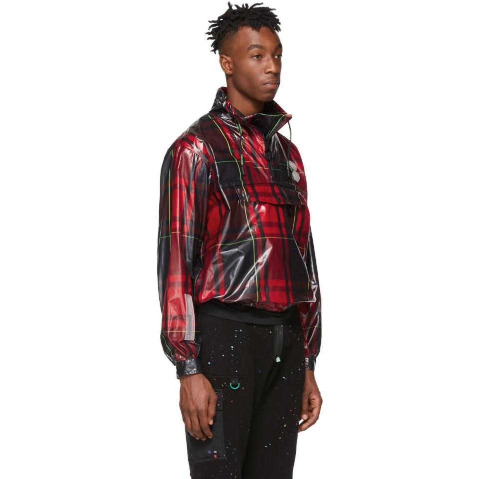 19a8309b46fb8 Off-White c/o Virgil Abloh Red Checked Anorak Jacket in Red for Men ...