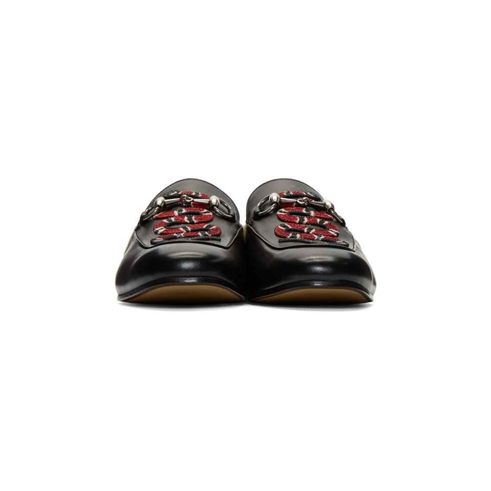 643ac6a85f8 Gucci - Black Snake Fur Princetown Slippers for Men - Lyst. View fullscreen