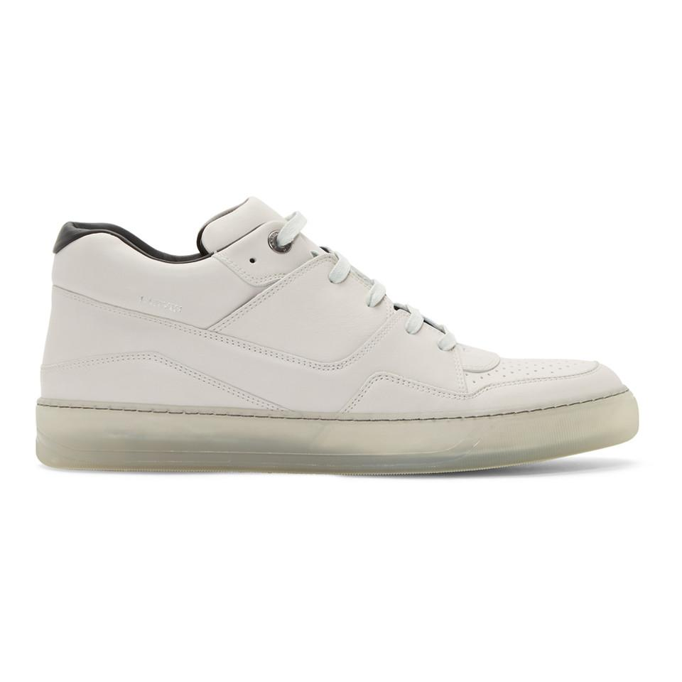 the latest 706f3 c7735 Lyst - Lanvin Off-white Leather Sneakers in White for Men
