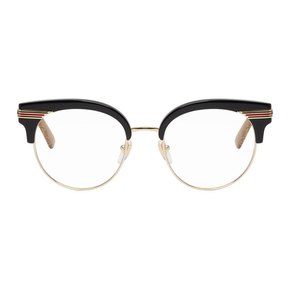5369d01fdb9 Gucci - Black And Gold Web Glasses - Lyst. View fullscreen