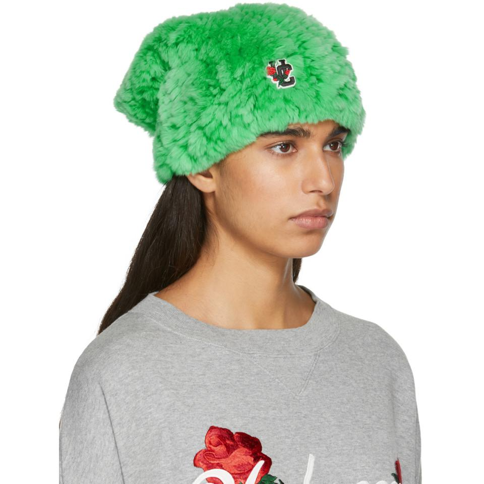 2d3cd80ef50 Lyst - Undercover Green Rabbit Fur Logo Beanie in Green