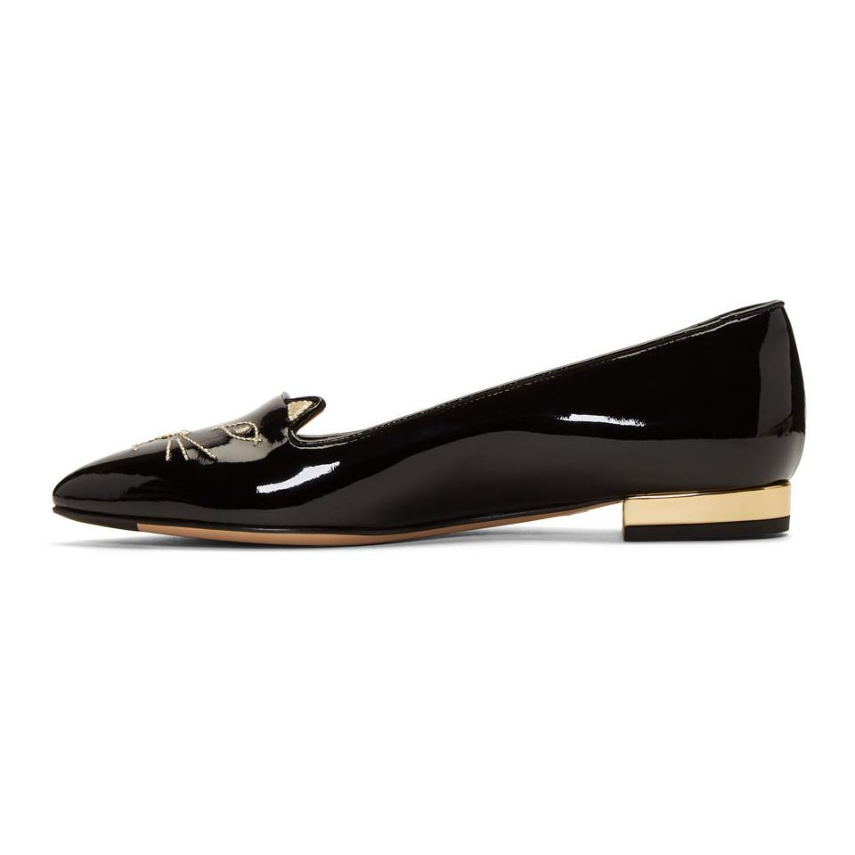Charlotte Olympia SSENSE Exclusive Black Patent Mid-Century Kitty Flats mMnhcp9X