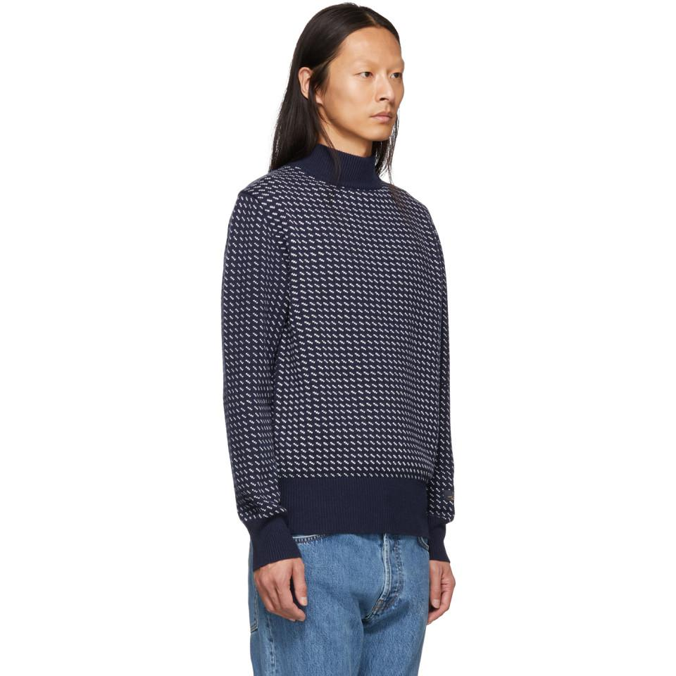 Aimé Leon Dore Navy Birdseye Knit Sweater in Blue for Men - Lyst b4fefa1d3