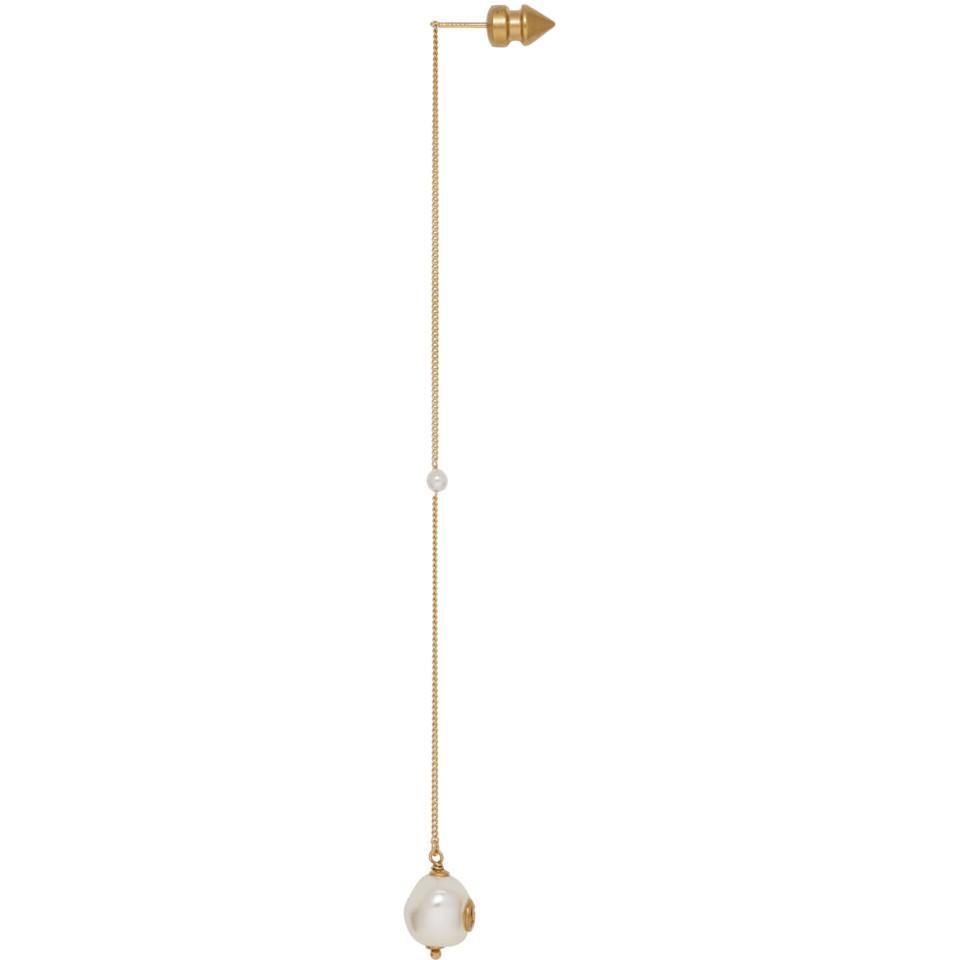 9092460fa1e Gucci Gold Interlocking G Pearl Pendant Earring in Metallic - Lyst