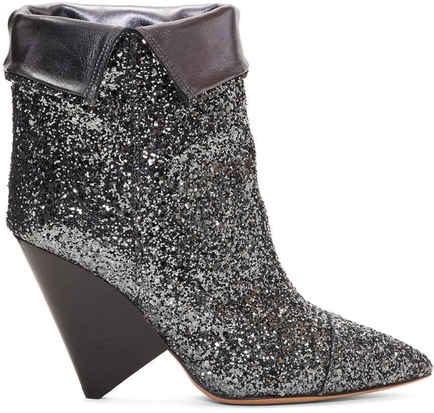 Isabel Marant Gunmetal Glitter Luliana Boots fYsUKu