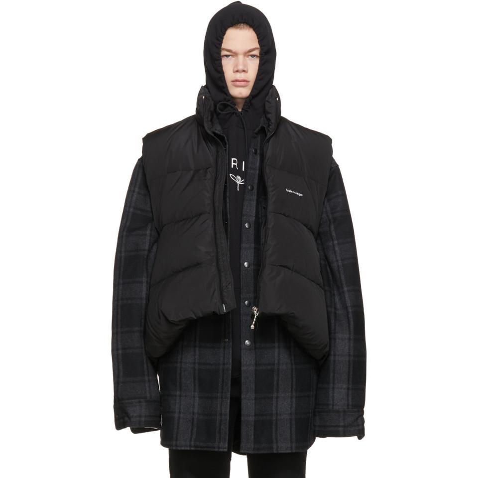 c86a46a8f81c Lyst - Veste en duvet noire C-Shape Balenciaga pour homme en coloris ...