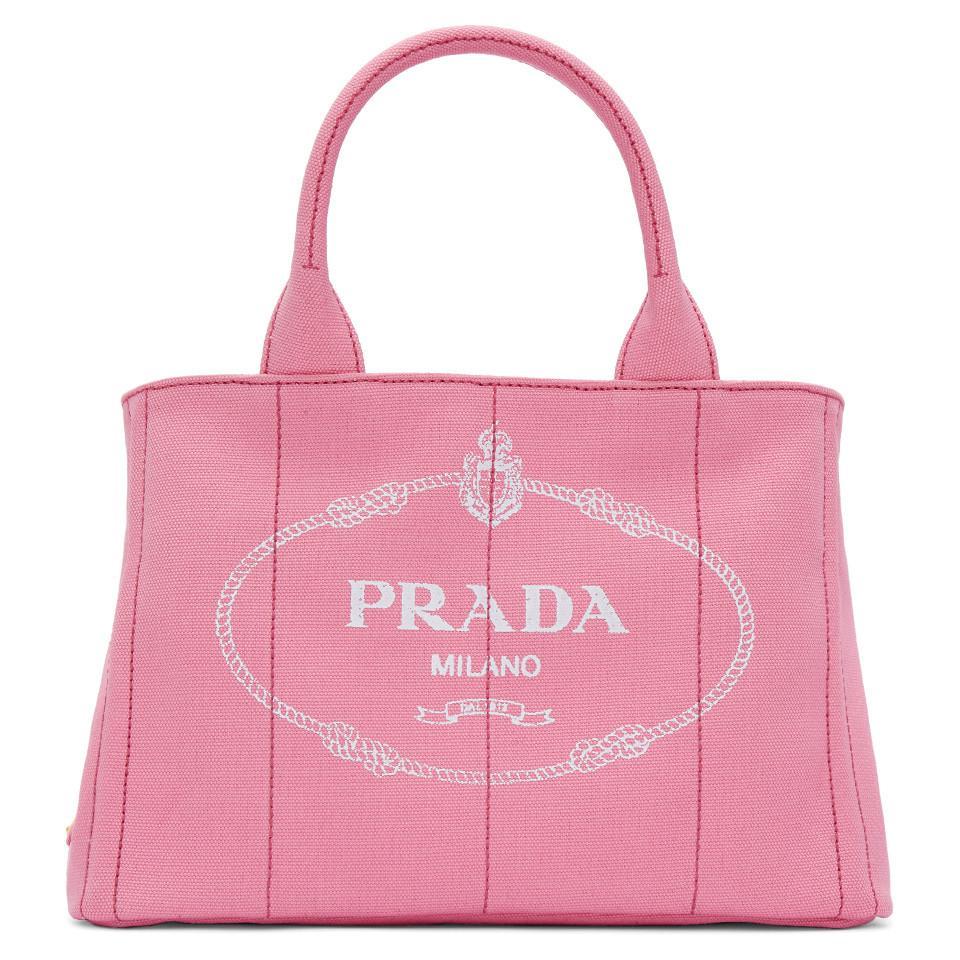 619b7ae74b53e9 Prada Pink Small Gardener Canvas Tote in Pink - Lyst