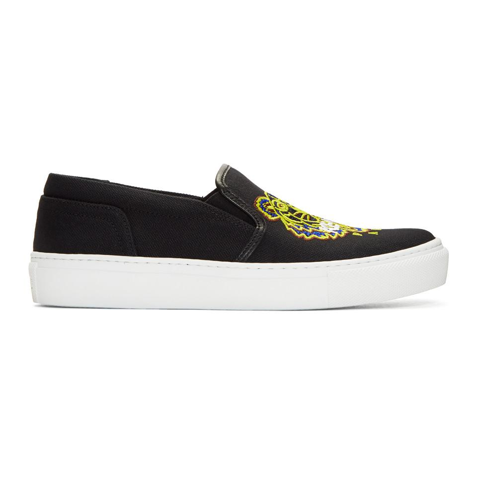 519bd4db6d07 KENZO Black Tiger K-skate Slip-on Sneakers in Black - Lyst