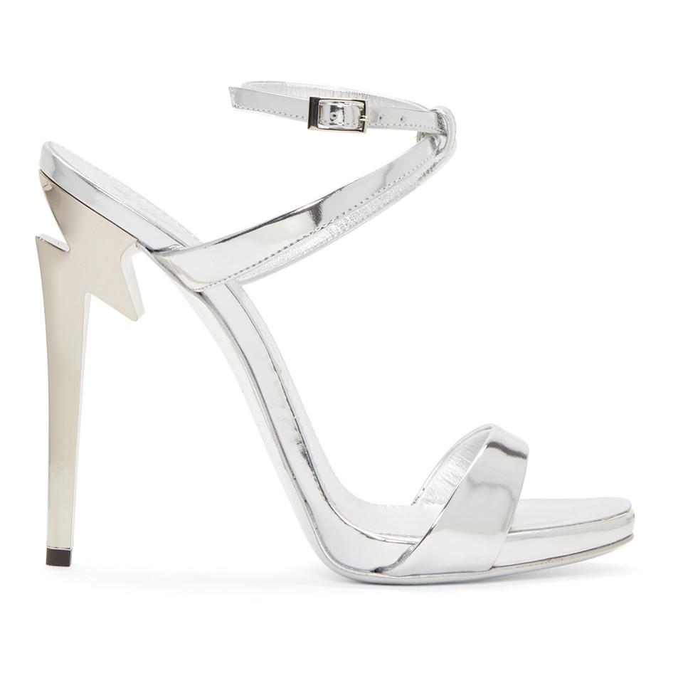 2c28514944b Lyst - Giuseppe Zanotti Silver Metallic Alien Sandals in Metallic