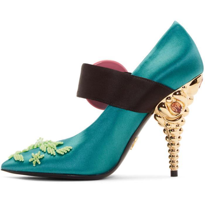 Green Beaded Button Heels Prada A0x4JckrT