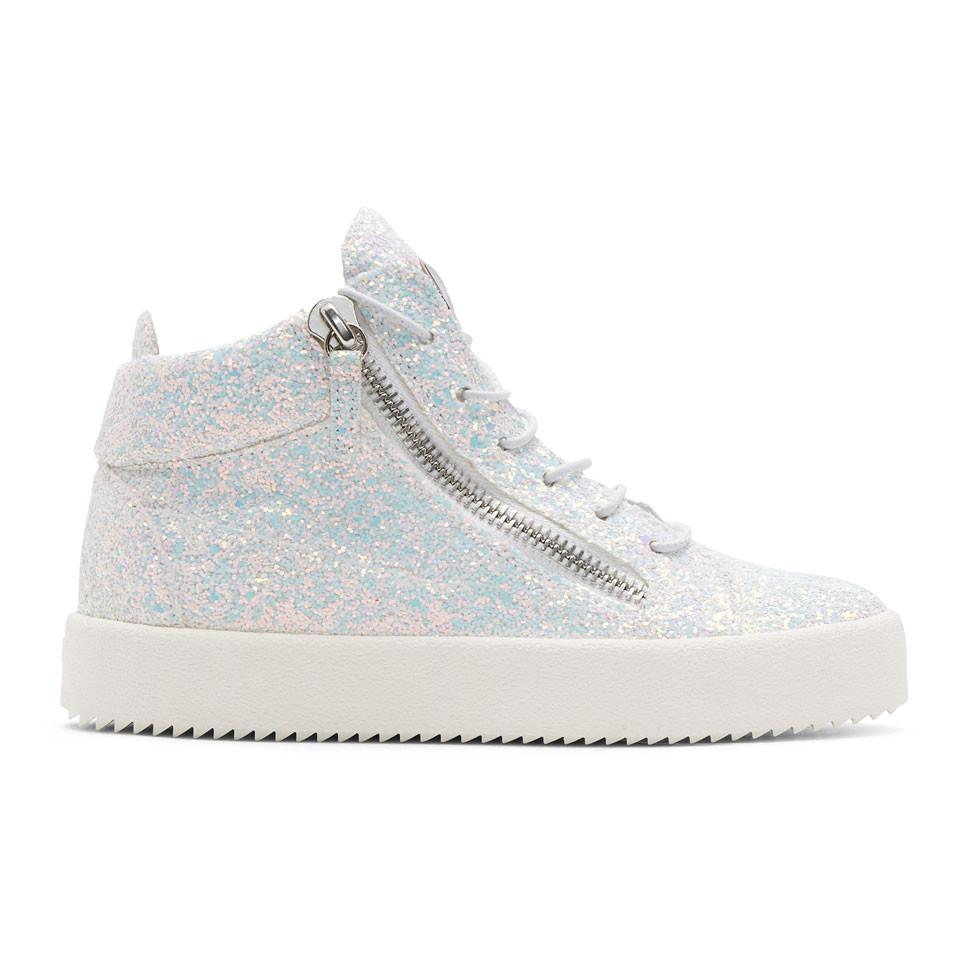 Giuseppe Zanotti Grey & White May London High-Top Sneakers amazon cheap online clearance sale online many kinds of sale online tXbj6J5