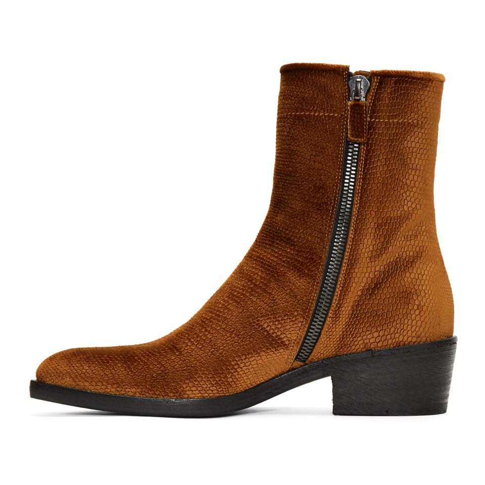 Haider Ackermann Velvet Celest Chunky Boots BGCUXr3A6