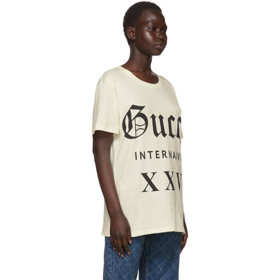 52f0def7 Gucci - Natural Beige Guccy Internaive Xxv T-shirt - Lyst. View fullscreen