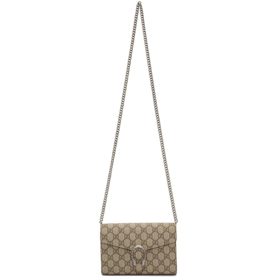 7d4acbc23fa Lyst - Gucci Beige GG Supreme Dionysus Wallet Bag in Natural