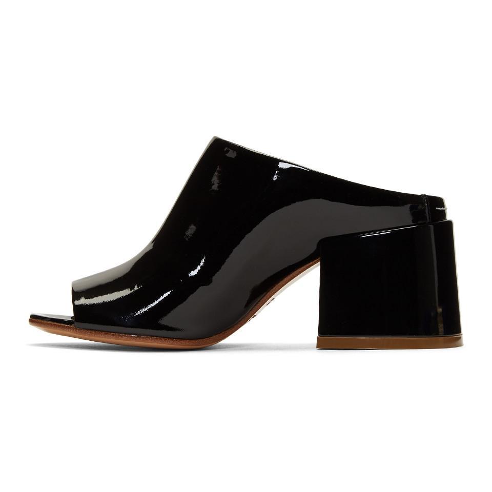 Maison Margiela Black Patent Flare Heel Mules yzHQcESPPn