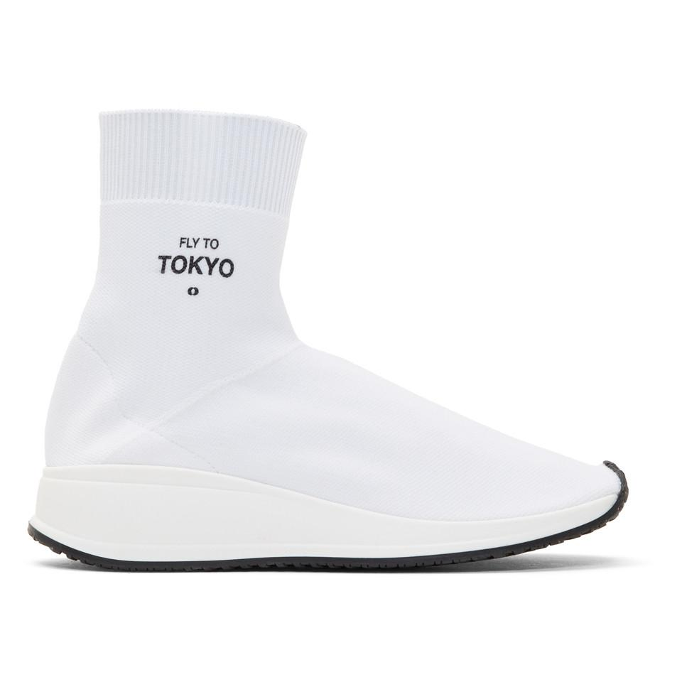 Joshua Sanders White 'Fly To Tokyo' Sock High-Top Sneakers bXV9Z6M1iE