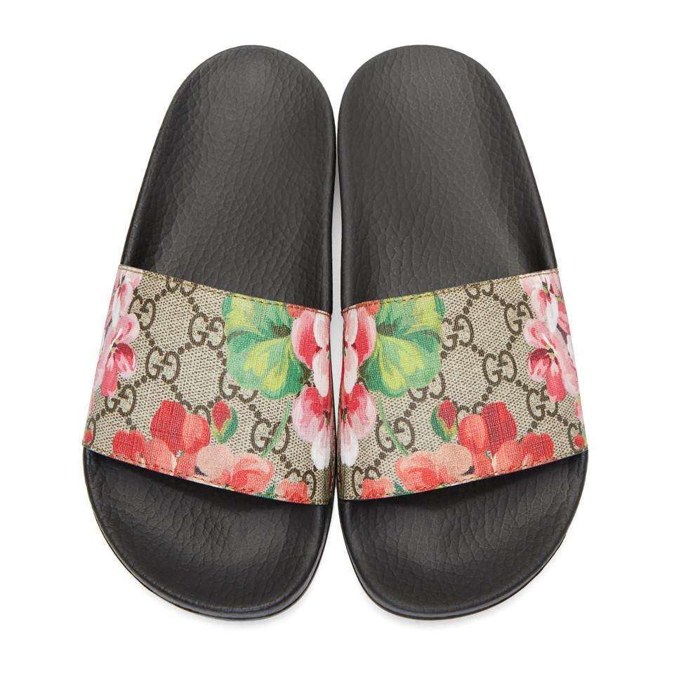 73eacda7c022 Gucci - Multicolor Blooms Supreme Canvas Slides - Lyst. View fullscreen