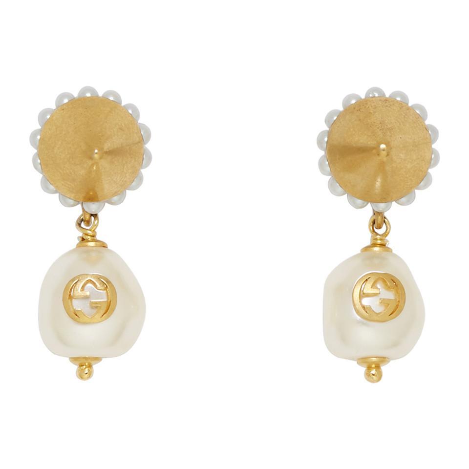 82d74213da2 Lyst - Gucci Gold Gg Pearl Earrings