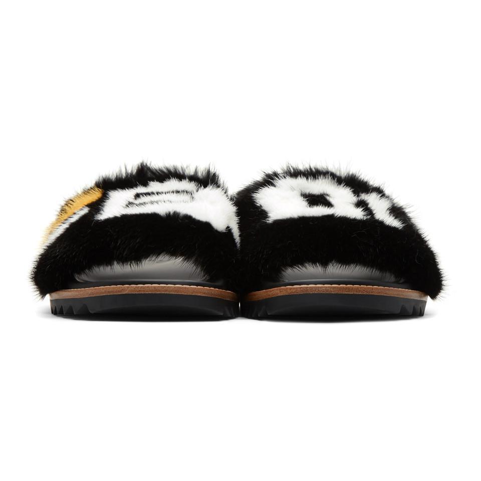 836d3545a Lyst - Fendi Black Mania Fur Slides in Black for Men - Save 6%