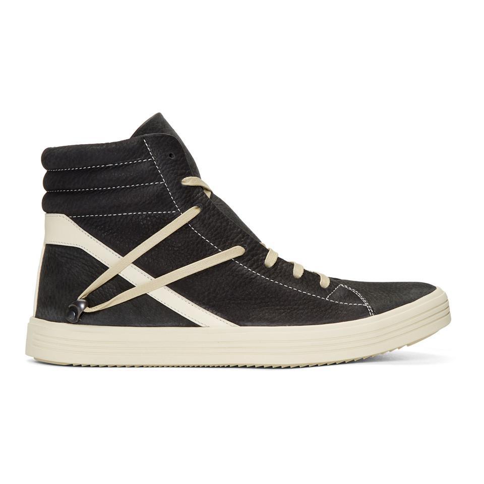 Rick Owens Black & Off-White Geobasket High-Top Sneakers