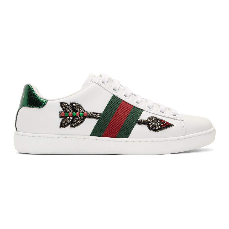c5134cd610a Lyst - Gucci Ace Arow-embroidered Leather Sneakers in White - Save 5%
