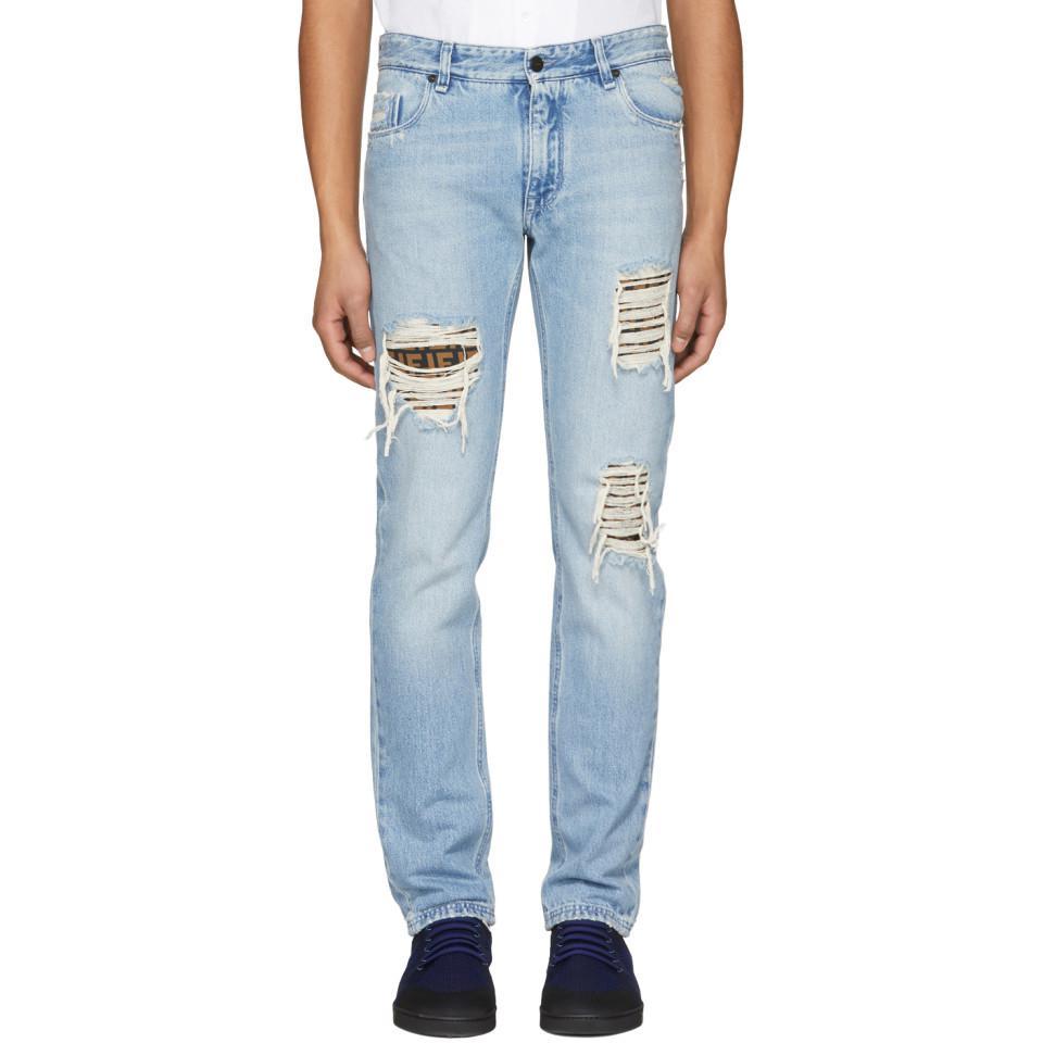 Jeans Panneau Latéral - Fendi Bleu psHlHn4Dw
