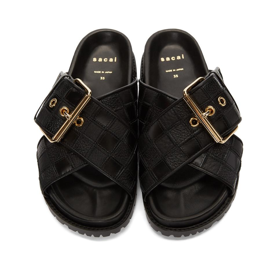 SACAI Patchwork Straps Sandals