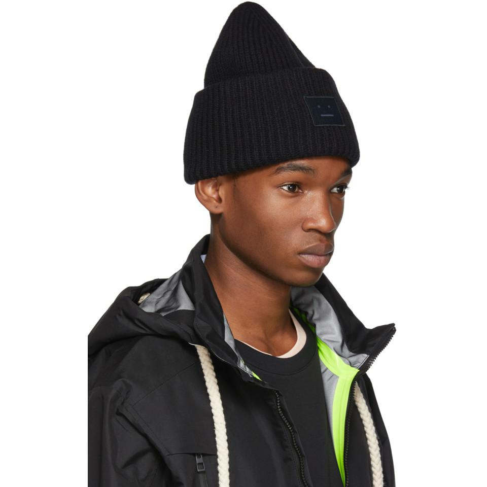 2acbfd26cbc Lyst - Acne Studios Black Pansy N Face Beanie in Black for Men