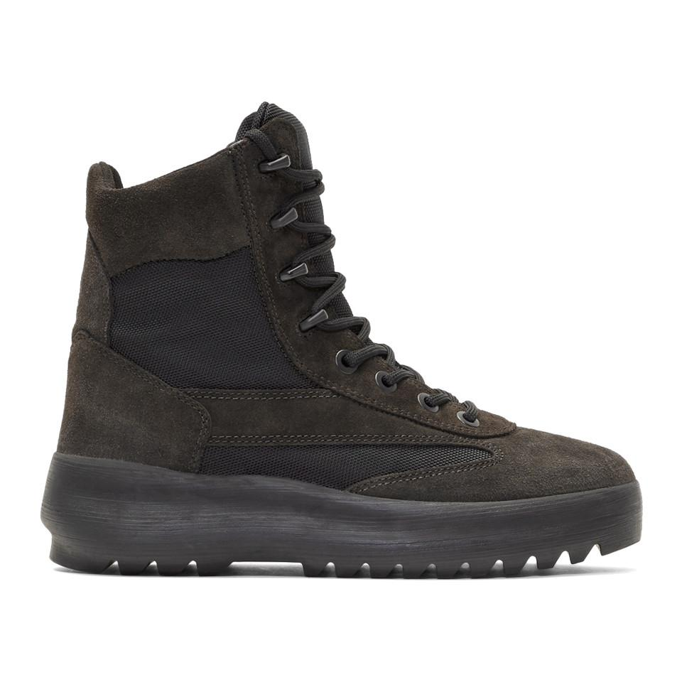 8a571d47e2e Lyst - Yeezy Black Military Boots in Black for Men