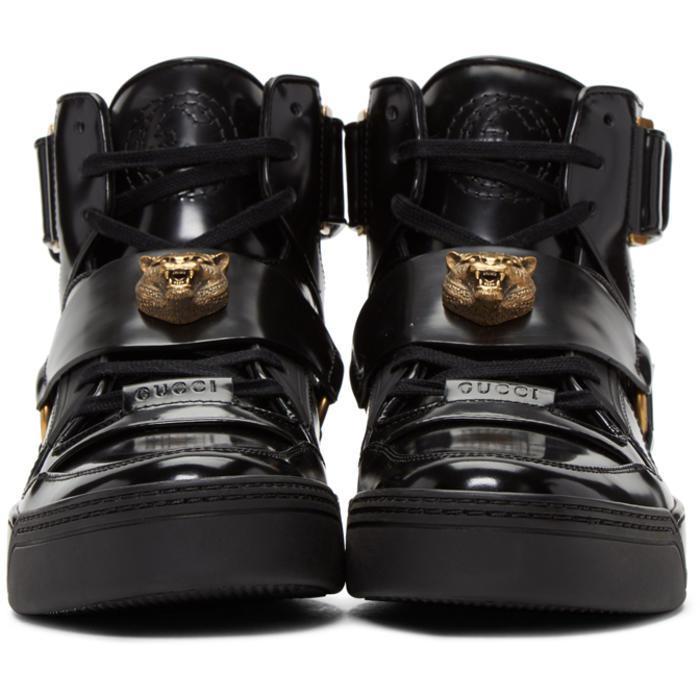 c7b7beb2adb Lyst - Gucci Tiger High-top Sneakers in Black for Men