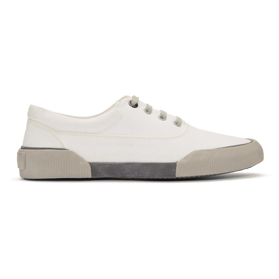 Lanvin White Destroy Canvas Oxford Sneakers