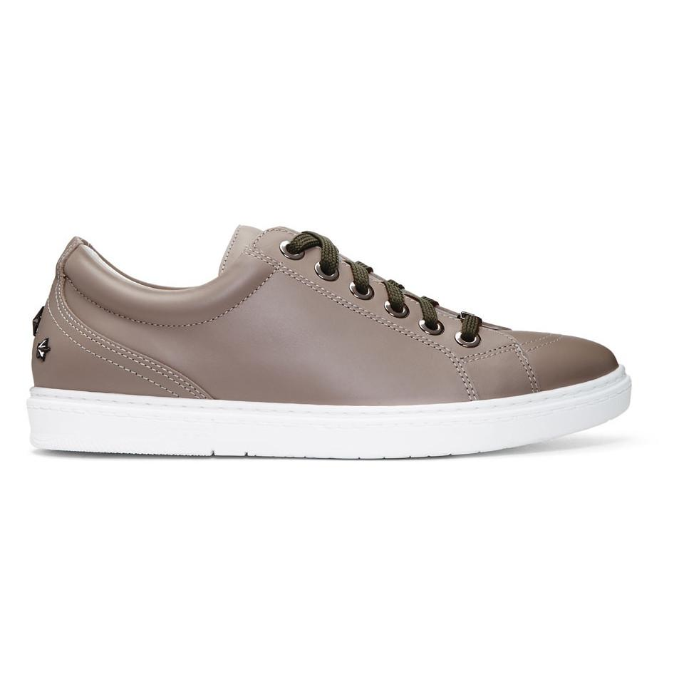 Jimmy choo Taupe Leather Cash Sneakers zee0v1ifw