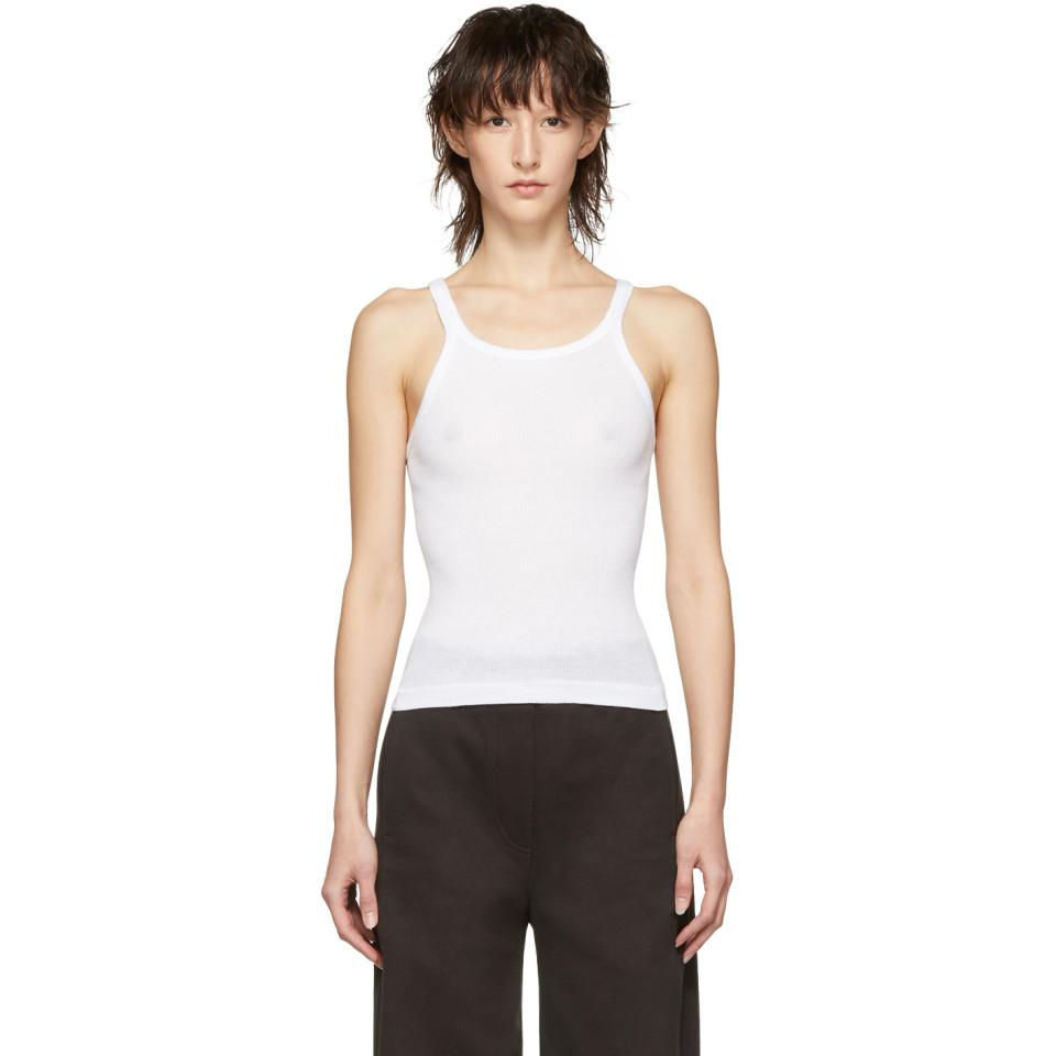 d044868241a399 RE DONE White Originals Ribbed Tank Top in White - Lyst