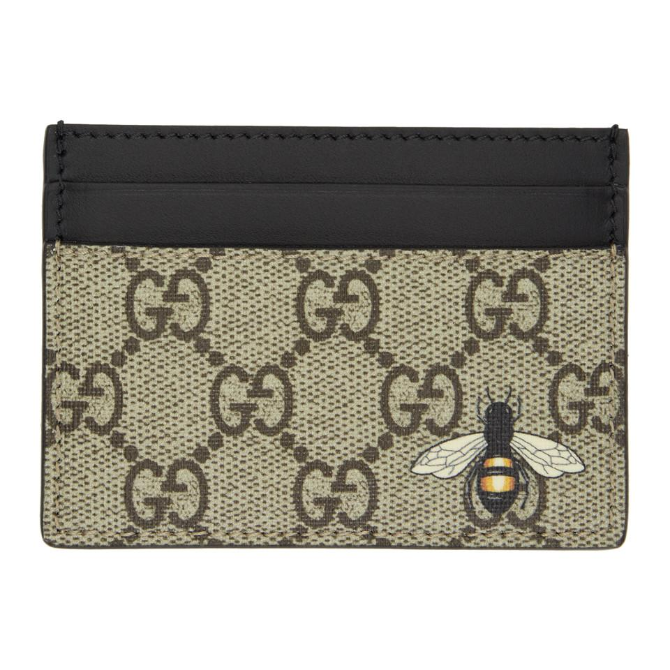 Lyst - Gucci Beige And Black Gg Supreme Bee Card Holder in Natural ...