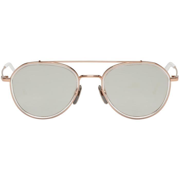 cf402d13125e Lyst - Thom Browne Rose Gold Tb 801 Aviator Sunglasses for Men