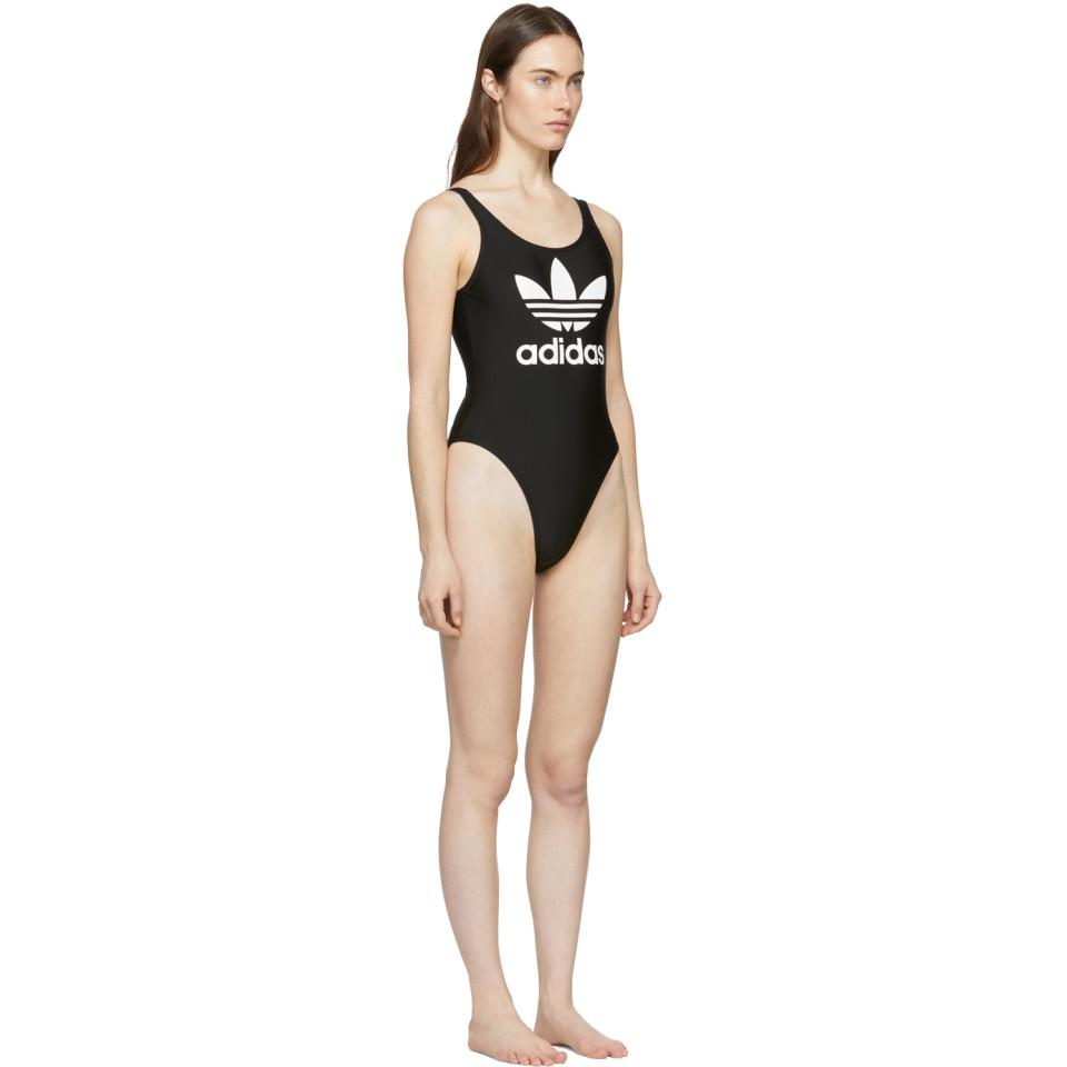 e648516dbca Adidas Originals - Black Trefoil One-piece Swimsuit - Lyst. View fullscreen