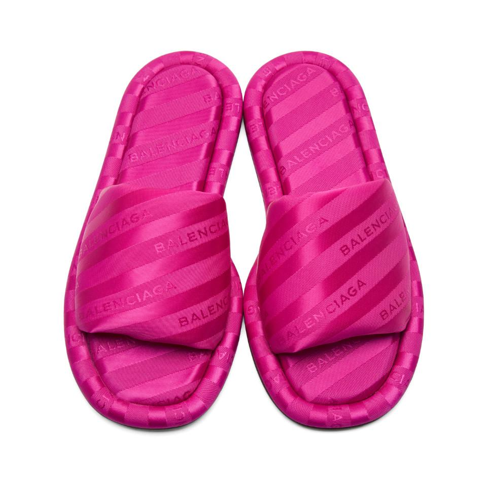 lyst balenciaga pink jacquard all over logo slides in pink