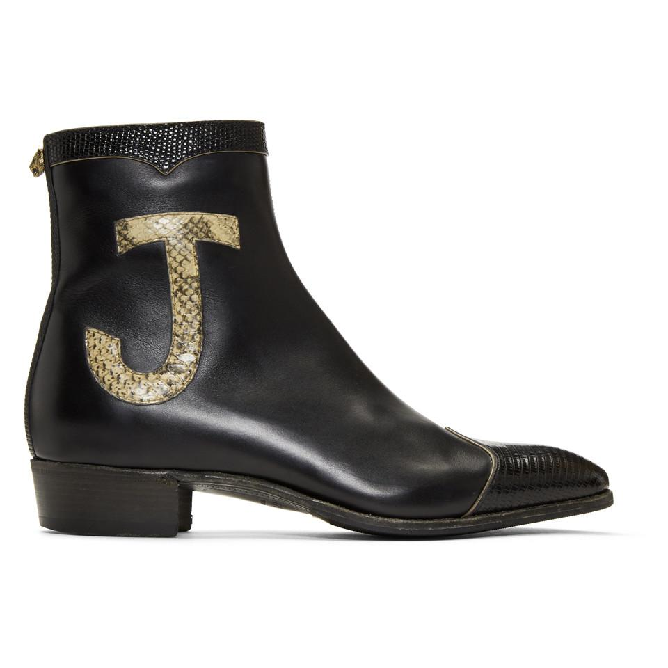 86cdb478c6f Lyst - Gucci Black Leather And Lizard Elton John Zip-up Boots in ...