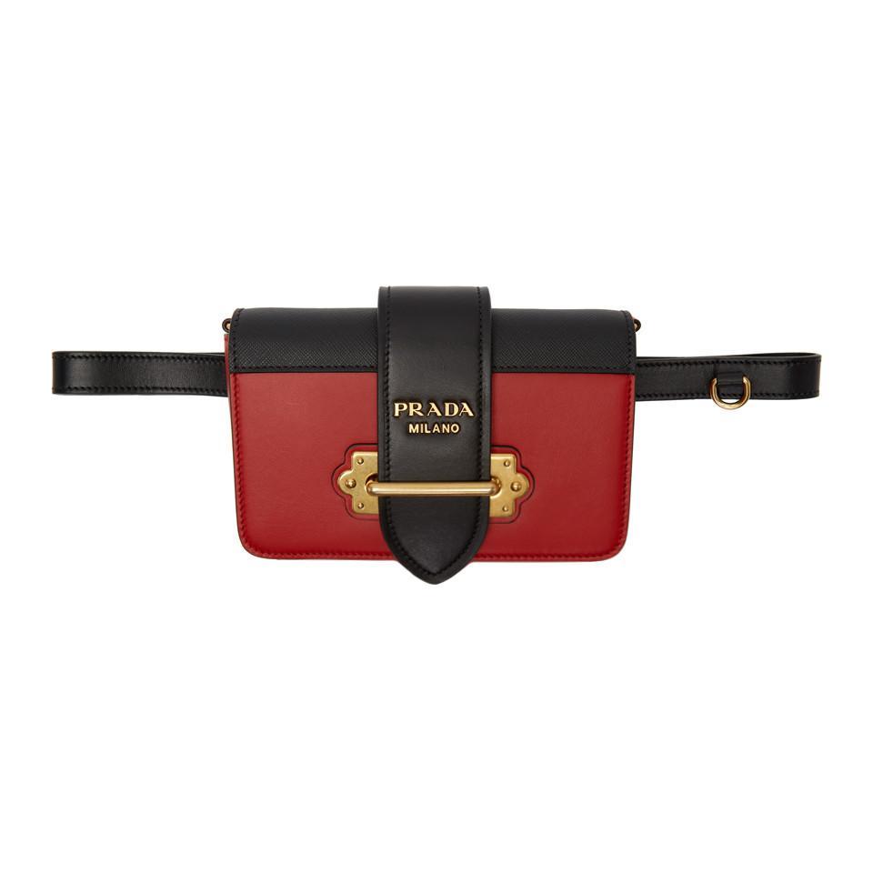 En Rouge Cahier Coloris Ceinture Noir Et Prada Lyst Sac eHbD9IYW2E