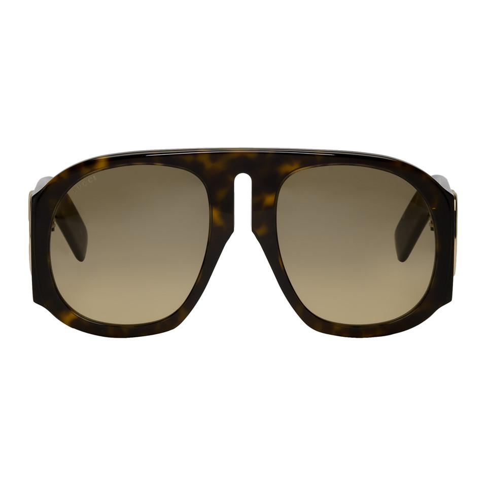 c96c71ab0ca Gucci Tortoiseshell Aviator Sunglasses for Men - Lyst