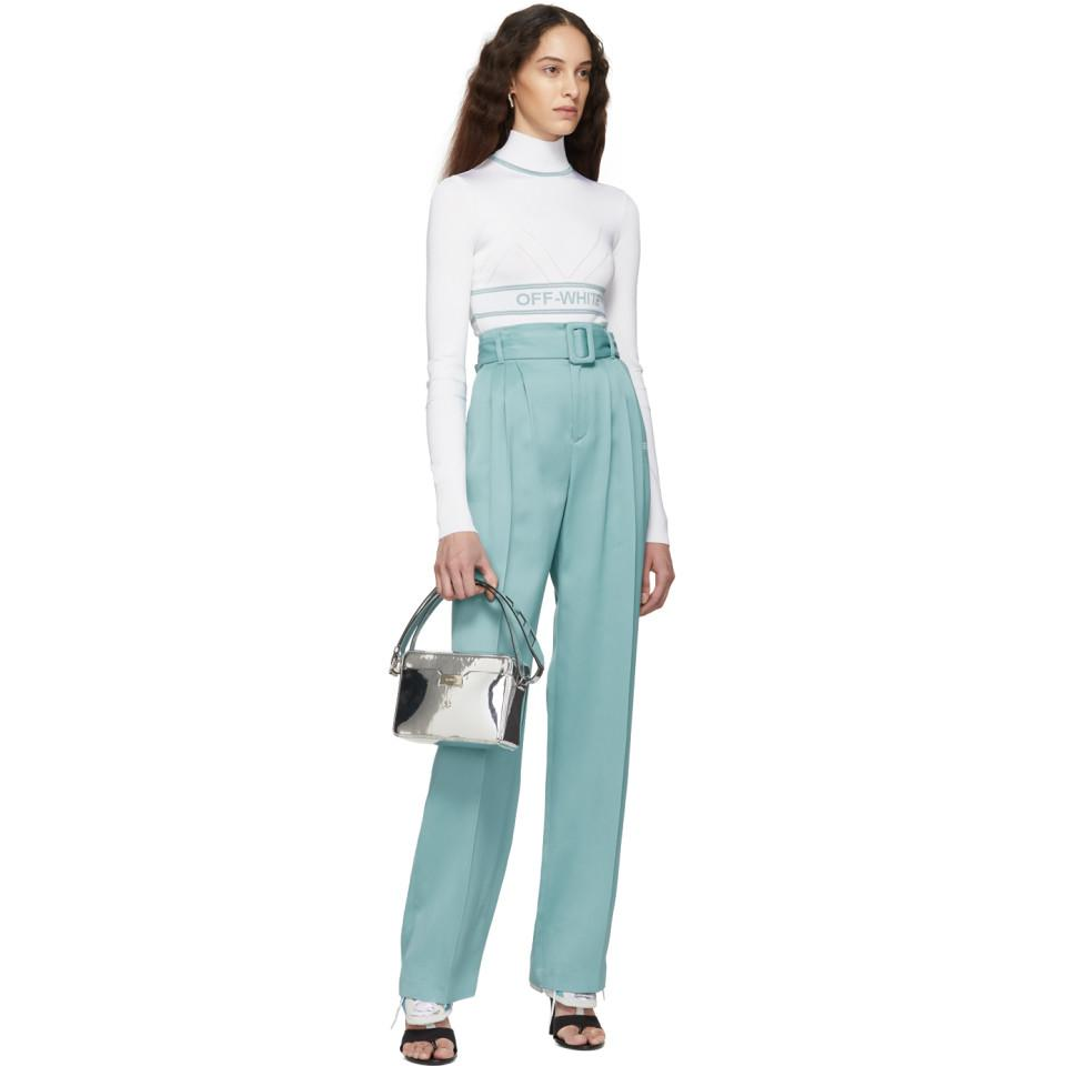 c71d222dee7e Lyst - Off-White c/o Virgil Abloh Blue Fluid Front Pleats Trousers ...