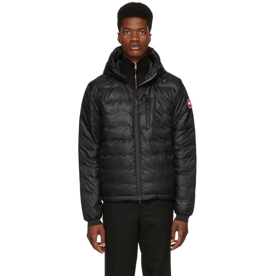 lyst canada goose black lodge hooded jacket in black for men rh lyst com