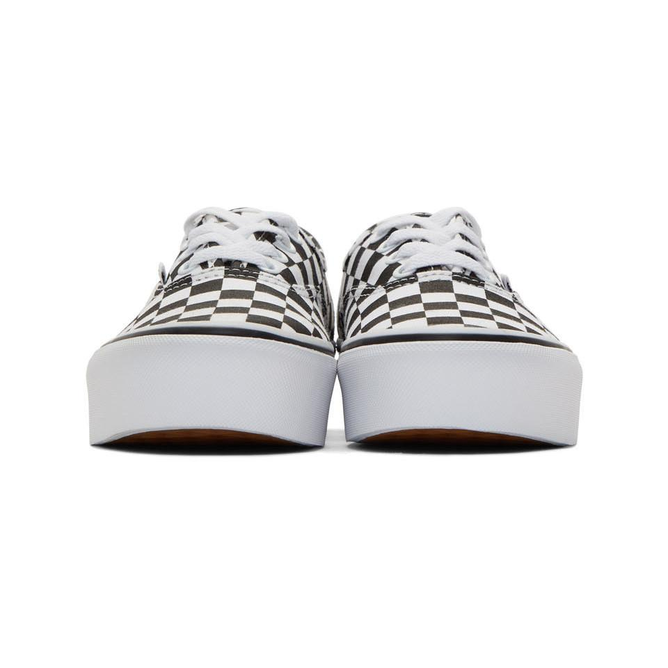 500f2b6dda Vans - Black And White Checkerboard Ua Authentic Platform 2.0 Sneakers -  Lyst. View fullscreen
