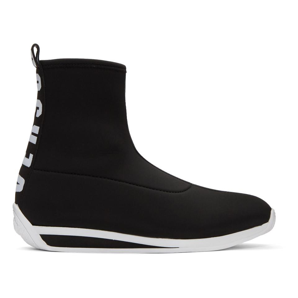 Versus Black Logo Sock High-Top Sneakers UwQOh8eY