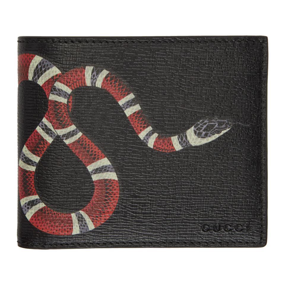 abecd8d82fd059 Gucci Black Leather Snake Wallet in Black for Men - Save 19% - Lyst